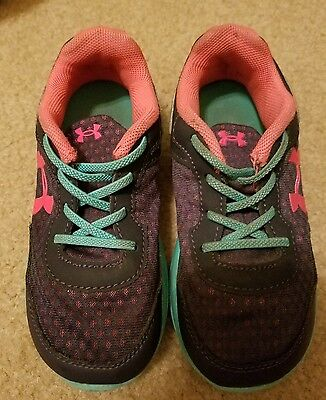 Under Armour Toddler Girl Athletic Shoes Size 10 Teal Blue Pink No Tie Vguc