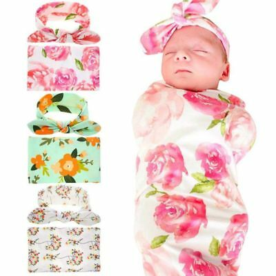 Infant Baby Girl Floral Swaddle Wrap Swaddling Sleeping Blanket Bow Headband AU