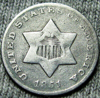 1851-O Silver Three Cent Piece 3cp --- AMAZING DETAILS --- #N583