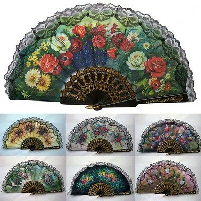 Floral Lace Hand Fan Fabric Pocket Folding Fans Party Wedding Gift Spanish Style