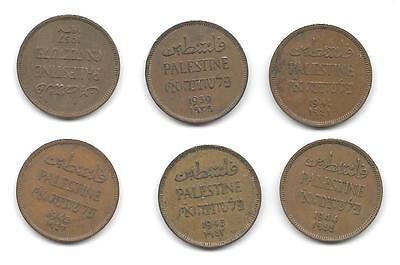 Palestine.  Lot Of 6 - 1 Mil Coins - 1937,39,41,42,43,44- (Cns 711)
