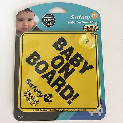 Baby on Board Car Sign with Suction Cup Yellow Safety 1st NEW