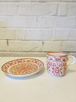 Antique Crown Staffordshire Porcelain Cup and Saucer with Red Intricate Patterns