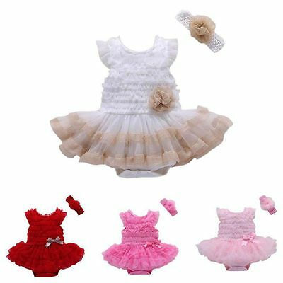 Infant Baby Girl Summer Romper Tutu Dress + Flower Headband Outfit Clothes 0-24M