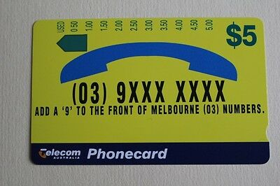 Telecom Phonecard $5 Add a 9 to the front of Melbourne  * UNUSED* MINT Condition