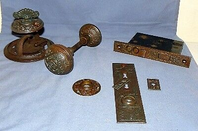 Auth. Antique Russell & Erwin Bronze Entry Door Lock Set W/ Great Patina + Extra