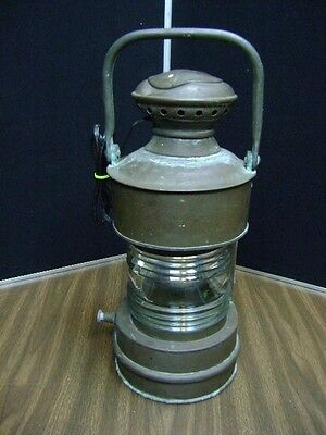 Antique Brass Marine Oil Ship Lamp Lantern Converted to electric  marked