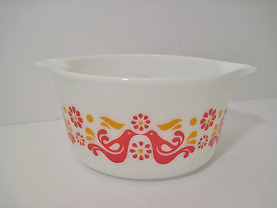 Vtg Pyrex FRIENDSHIP Red Bird Dove Rooster 473 Casserole Dish 1qt VERY NICE euc