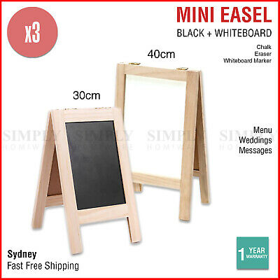 3x Mini Blackboard Whiteboard Easel Menu Wood Small Memo Message Sandwich Board