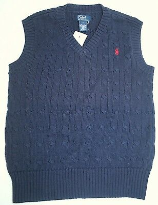 NWT Polo Ralph Lauren Boys Cable Knit Sweater Vest Navy Blue w/ Red Horse Small