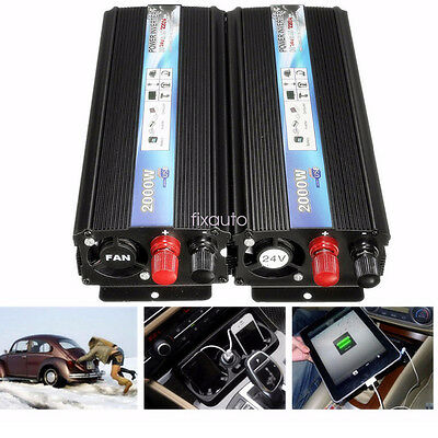 2000w Car Truck DC 24V To AC 220V Auto Sine Wave Power Inverter Converter fo12