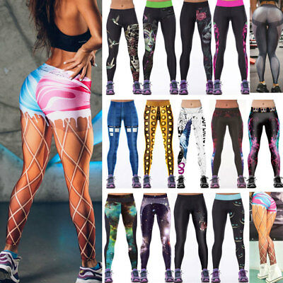 Plus Size Women Yoga Fitness Leggings Running Gym Sports Pants Workout Trousers