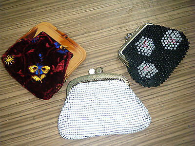 Lot of 3 Vintage Ladies Purses - Beaded Glomesh & Fabric
