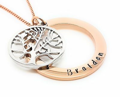 Tree of Life Personalised Rose Gold pendant Hand stamped Name Necklace Gift Idea
