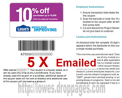 FIVE (5x) LOWES 10% OFF PROMO DISCOUNT-In-Store & Online.Coupons (fast delivery)