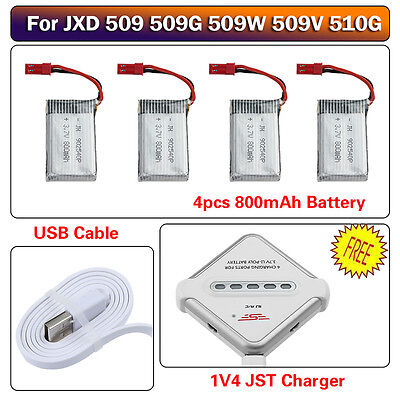 Au post 4x 800mAh Battery & 4in1 Charger Set for JXD 509 509G 509W 510G RC Drone