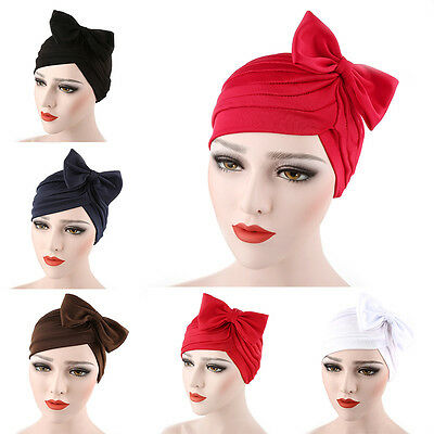 Women Bow Pleated Turban Hat Chemo Cancer Hair Loss Cap Head Wrap Scarf 2017