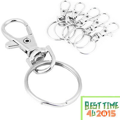 Silver Tone Basic Lobster Trigger Swivel Clasps Split For Keyring Hook Fob Ring