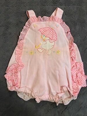 Vtg 80's Tiny Tot Baby Girl One Piece Romper Ruffle Duck Sz 6-9 Months