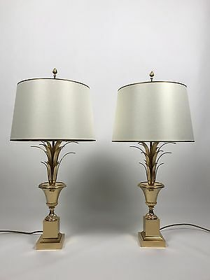 2x elegant French Palm Leaf Table Lamp 60s 70s Palmen Lampe 60/70er Luxus Design