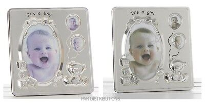 NEW It's A Girl ~ It's A Boy Teddy Bear With Balloons & Rattle Photo Frame 53564