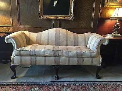 Antique Chippendale Camelback Sofa Mahogany c. 1860