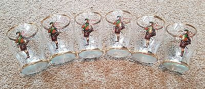 Vintage Set of Six Bagpipers Decal Gold Rimmed Fine Glass Single Shot Glasses