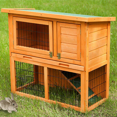 Wooden Outdoor Rabbit Hutch with Run 2 Tier Double Decker Ferret Guinea Pig Cage