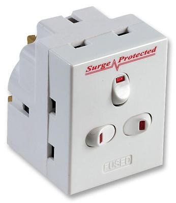 SURGE PROTECTED SWITCHED 3 SOCKETS MAINS PLUG ADAPTER Protect Electrical Equip