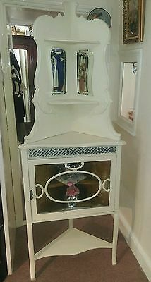 Antique Vintage cream ornate painted shabby chic corner display cabinet unit