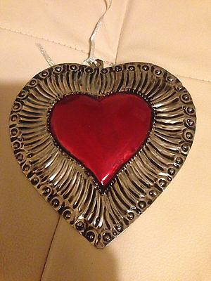 Mexican Tin Heart Hand Crafted Decoration Imported From Mexico