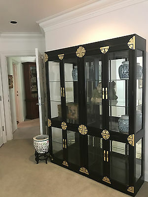 Vintage Chinoiserie Glass Door China Cabinets(2) Display Hutch.Gold. SHIP OK