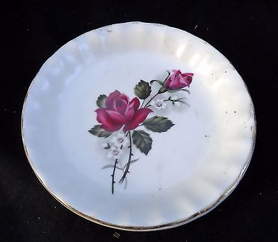 Sandland & Hanley Pin Dish White With Red Rose Design.