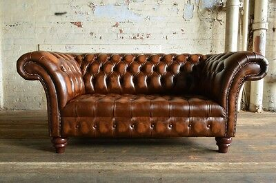 8c60c7b9b857 Handmade 2 Seater Vintage Antique Tan Brown Leather Chesterfield Sofa,Settee