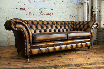 Handmade 3 Seater Vintage Antique Tan Leather Chesterfield Sofa Couch, Settee