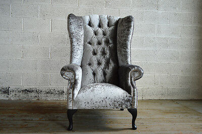 Modern Queen Anne Crushed Silver Velvet Chesterfield Wing Armchair  High Back