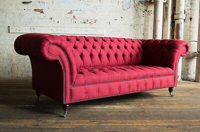 Modern Handmade 3 Seater Red Fabric Herringbone Wool Chesterfield Sofa, Settee