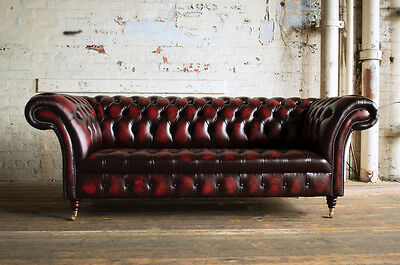 Traditional 3 Seater Antique Oxblood Red Leather Chesterfield Sofa, Settee