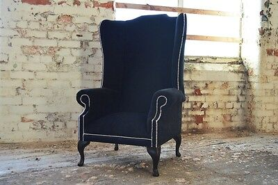 Modern Queen Anne Chesterfield Wing Arm Chair Extra High Back, Black Velvet