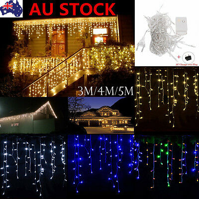 3-5M LED Icicle String Fairy Curtain Light Lamp Wedding Party Xmas Decor AU Plug