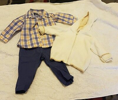 zara baby boys size 3-6 months pants shirt and cardigan