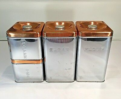 Kitchen Canister Set MCM Mid Century Modern Copper Chrome Lincoln Beautyware