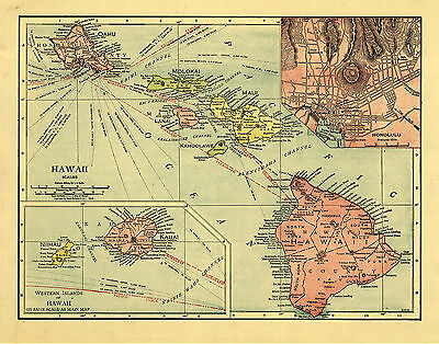 "1912 Map of HAWAII, Antique America, Color, Islands, 30""x24"" print"
