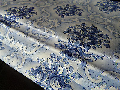 Vintage cotton fabric with Blue floral from the 1930s, 52 x 80cm new