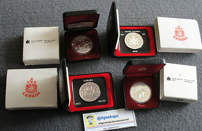 Canada Proof Silver Dollars $1 Lot Of 4 Canadian Coins Clamshell Box 1971,72,80