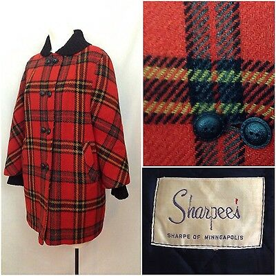 Vintage 1960s Mod Red Black Plaid Wool Shawl Collar Coat Quilted Liner Jacket M