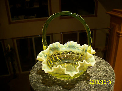 Ruffled Brides Basket Fenton Art glass Vaseline Topaz Opalescent Thumb Print