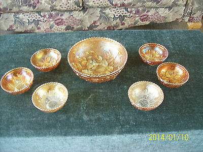 Carnival  Marigold Imperial Glass Luster Rose Berry Bowl 7 Piece Set Pre-Logo