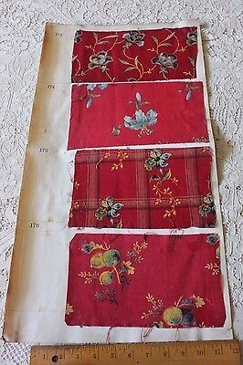 4 Turkey Red Fabric Samples On Original English Manufacturers Page c1899