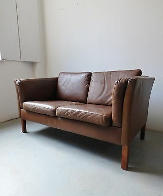 Vintage Danish Light Brown Leather 2 Seater Sofa
